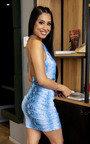 Eli Ruched Snake Print Dress Thumbnail
