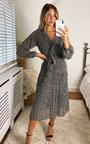 Elisha Animal Print Wrap Midi Dress Thumbnail