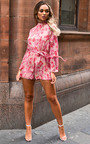 Elissa Floral High Neck Belted Playsuit  Thumbnail