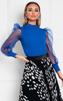 Emilee Polka Dot Sheer Sleeve Top Thumbnail