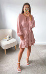 Emrata Ruffle Belted Wrap Dress Thumbnail