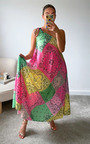 Enzo One Shoulder All Over Print Maxi Dress Thumbnail