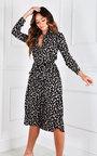 Estefania Long Sleeve V Neck Printed Midi Dress Thumbnail