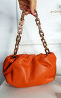 Eve Faux Leather Shoulder Bag with Chain Detail Thumbnail