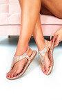 Farah Diamante Embellished T-Bar Sandals Thumbnail