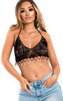 Farina Knitted Halterneck Beaded Crop Top Thumbnail