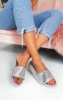Fifi Diamante Metallic Flatform Sliders Thumbnail