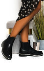 Fifi Faux Leather Diamante Chelsea Boots Thumbnail