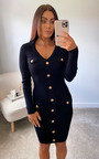 Fiona Knitted Dress with Button Detail Thumbnail