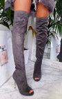 Flora Thigh High Peep Toe Boots  Thumbnail