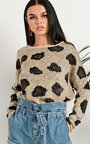Florie Knitted Leopard Print Jumper  Thumbnail