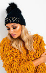 Fran Eyelet Embellished Pom Pom Hat Thumbnail