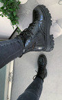 Frankie Chunky Lace Up Biker Boots Thumbnail
