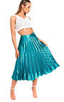 Gabbana Metallic Pleated Midi Skirt Thumbnail