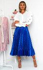 Gabbana Metallic Pleated Midi Skirt Thumbnail