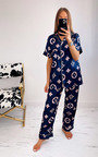 Geena Button Up Printed Pyjama Co-Ord Thumbnail