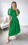 Genevieve Puff Sleeve Open Back Midi Dress Thumbnail