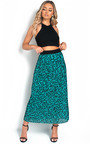 Georgie Pleated Animal Print Midi Skirt Thumbnail