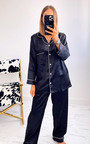 Georgina Satin Pyjama Co-ord with Contrast Stitching Thumbnail