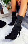 Gia Studded Lycra Heeled Boots Thumbnail