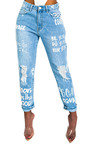 Gigi Graffiti Distressed Jeans  Thumbnail