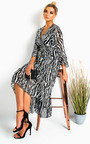 Gina Printed Frill Maxi Dress Thumbnail