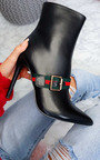Gio Striped Buckle Heeled Boots Thumbnail