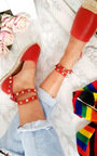 Giovanni Studded Red Espadrilles Thumbnail
