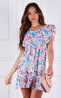 Gisele Ruffled Sleeve Floral Printed Mini Dress Thumbnail