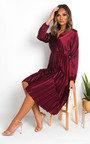 Glenn Satin Pleat Midi Dress Thumbnail