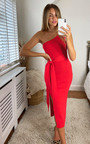 Goldie Knitted Belted One Shoulder Thigh Split Midi Dress Thumbnail