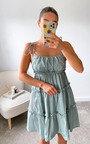 Haley Tiered Tie Strap Mini Dress Thumbnail
