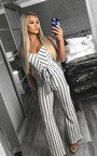 Hallie Stripe Tie Waist Wide Leg Jumpsuit Thumbnail