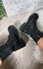 Hanna Quilted Lace Up Biker Boots Thumbnail
