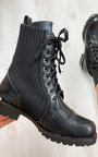 Harper Faux Leather Sock Style Biker Boots Thumbnail