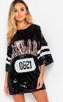 Harri Sequin Oversized Cold Shoulder T-Shirt Dress Thumbnail