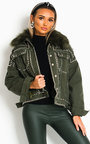 Harvey Faux Fur Studded Embellished Denim Jacket Thumbnail