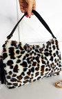 Hayley Faux Fur Leopard Print Shoulder Bag Thumbnail