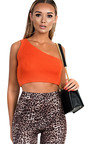 Hayley One Shoulder Knitted Crop Top Thumbnail