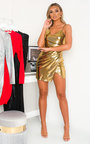 Hazel One Shoulder Metallic Mini Dress Thumbnail