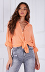 Heidi Button Up Oversized Cheesecloth Shirt  Thumbnail