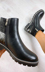 Heidi Faux Leather Croc Print Ankle Boots Thumbnail