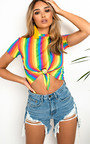 Helen Rainbow Tie Crop Top Thumbnail