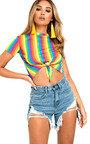 Helen Rainbow Tie Crop Top Thumbnail