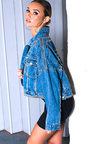 Henley Studded Embellished Denim Jacket Thumbnail