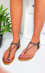 Hiliary Embellished T-Bar Wedged Sandal Thumbnail