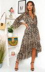 Hollie Printed Frill Maxi Dress Thumbnail