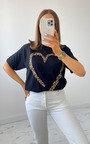 Iggy Leopard Heart T-Shirt in Black Thumbnail