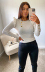 Imogen Jumper with Frill Shoulder and Button Detail Thumbnail