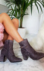 Indie Buckle Faux Suede Ankle Boots Thumbnail
